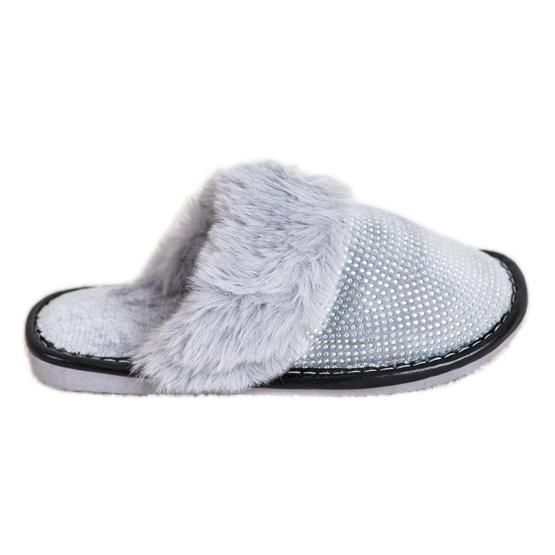 Bona Pantoufles confortables avec fourrure gris