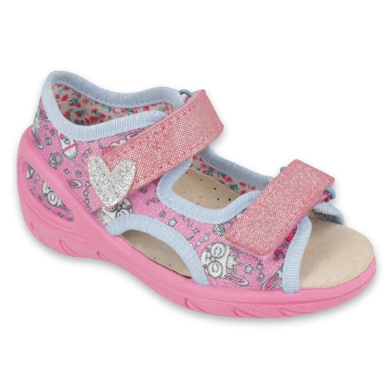 Befado chaussures pour enfants pu 065X147 rose argent gris