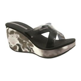 Pantoufles compensées Ipanema 83071 Lipsick Straps VII pour femmes noir gris