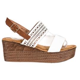 S. BARSKI Sandales blanches à talon compensé S.BARSKI brun