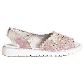 SHELOVET Sandales en cuir confortables beige rose