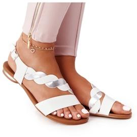 Sandales en cuir Vinceza 21-17117 Blanc et Argent