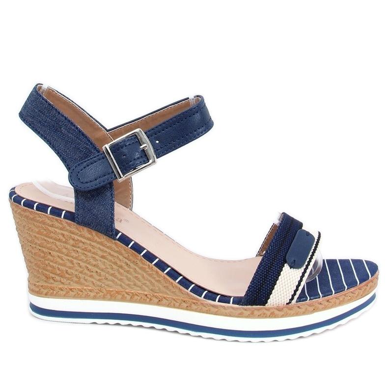 Sandales compensées bleu marine A89832 Bleu