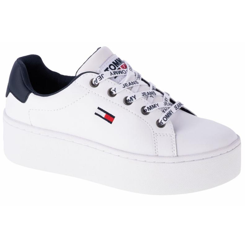 Tommy Hilfiger Iconic Leather Flatform Chaussures en EN0EN01113-YBR blanc marine