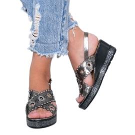 Sandales compensées grises métallisées Mon