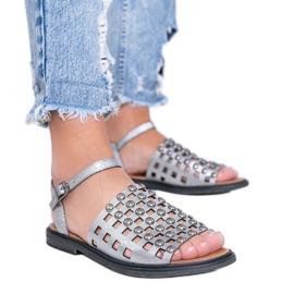 Sandales métallisées grises à clous Luxy