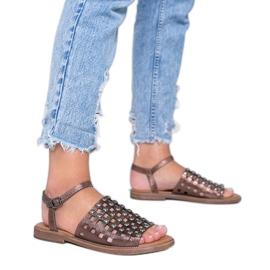 Sandales marron métallisées à clous Luxy brun