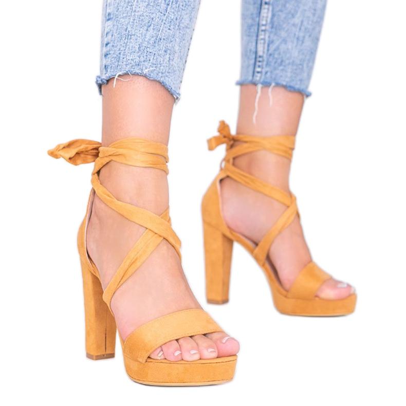 Sandales à lacets Ginny camel brun
