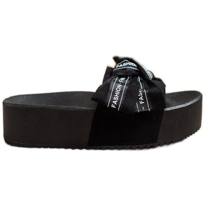 SHELOVET Pantoufles Avec Noeud De Mode noir