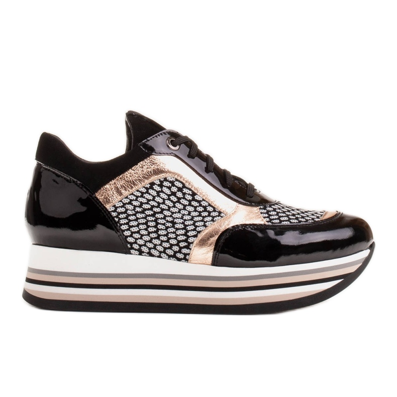 Marco Shoes Baskets légères sur semelle épaisse en cuir naturel noir