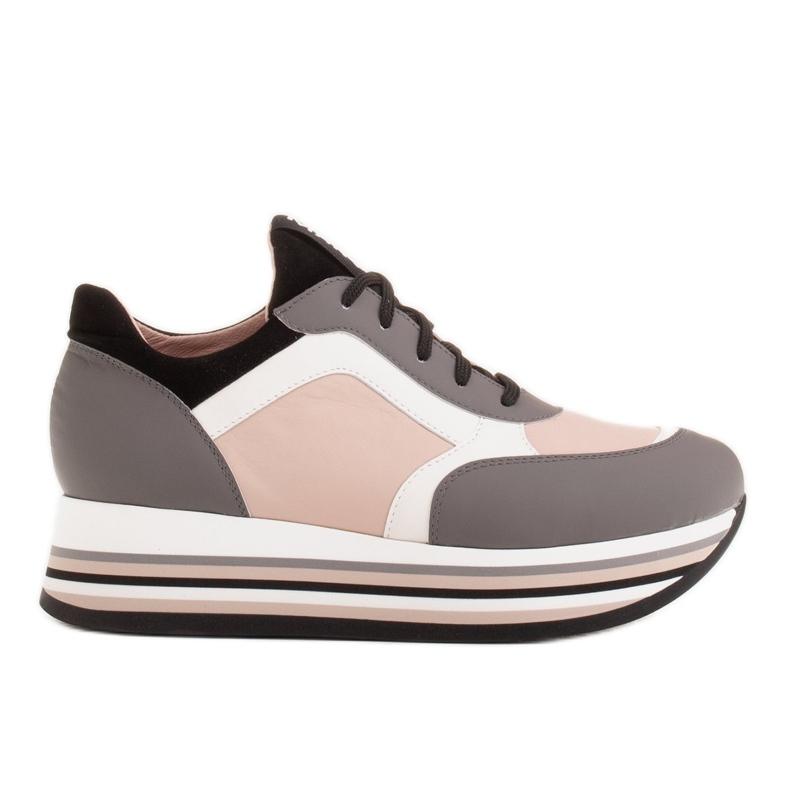 Marco Shoes Baskets légères sur semelle épaisse en cuir naturel gris