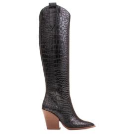 Marco Shoes Bottes hautes pour femmes santiags, motif croco noir