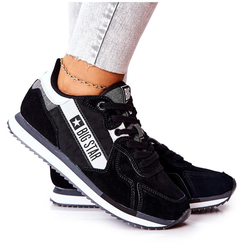 Chaussures de sport en cuir Big Star II274271 Noir blanche le noir