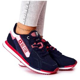 Chaussures de sport en cuir Big Star II274270 Bleu marine blanche rouge