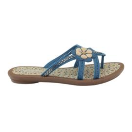 Rider Tongs chaussures pour enfants avec une fleur à l'eau Grendha bleu
