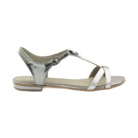 Gris Sandales pour femmes EDEO wz.3087 silver