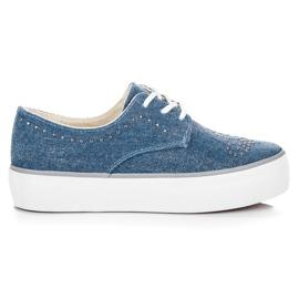 Kylie Sneakers avec des cristaux bleu