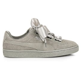 Gris Puma Suede Heart Pebble WN`S