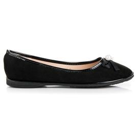 Ideal Shoes Ballerines en daim élégantes noir
