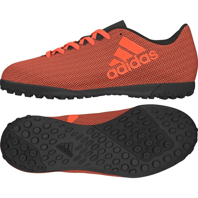 Chaussures de foot adidas X 17.4 Tf Jr S82422 orange noir, orange