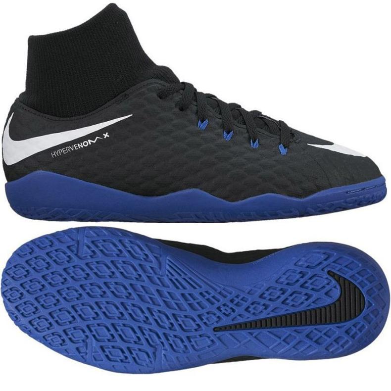 Chaussures d'intérieur Nike HypervenomX Phelon III DF IC Jr 917774-002 noir