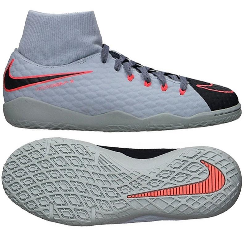 Chaussures d'intérieur Nike HypervenomX Phelon Iii Df Ic Jr 917774-400 gris / argent gris