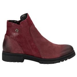 Bottes VINCEZA en cuir confortables rouge