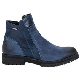 Bottes VINCEZA en cuir confortables bleu