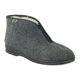 Gris Chaussures Befado pour hommes, chaussons chauds 100M047