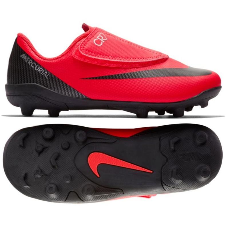 Nike Mercurial Vapor 12 Club Chaussures Ps V CR7 Mg Jr AJ3096-600 noir, rouge rouge