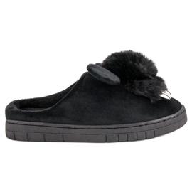 Noir Pantoufles confortables