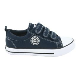American Club Sneakers enfant américain avec velcro LH33 blanc marine