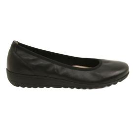 Noir Ballerines en cuir confortables Caprice 22150