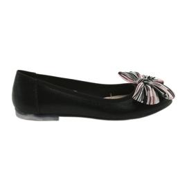 Chaussures ballerines pour femmes avec un arc Sergio Leone 605 noir