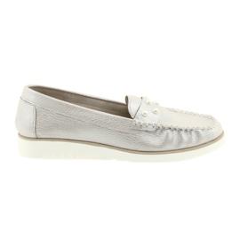Sergio Leone Mocassins Chaussures Pour Femmes Beige Perle