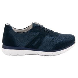 Filippo Chaussures de sport en cuir bleu marine