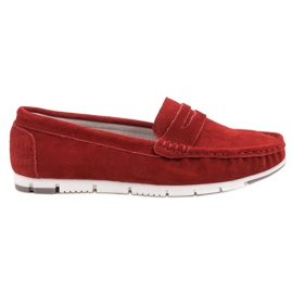 Filippo Mocassins En Cuir Rouge