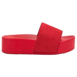 Anesia Paris rouge Pantoufles en daim sur la plate-forme