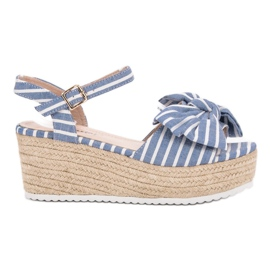 Seastar bleu Sandales compensées avec noeud