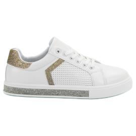 Ideal Shoes Chaussures de sport avec zircons blanc