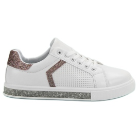 Ideal Shoes Chaussures de sport avec zircons blanc
