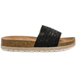 Seastar Pantoufles Noires Avec Zircons