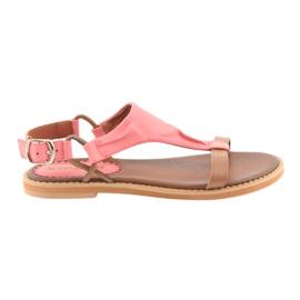Sandales à talon plat Daszyński Living Coral
