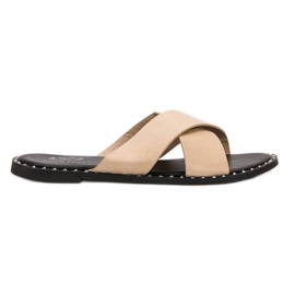 Small Swan brun Chaussons Suede Beige