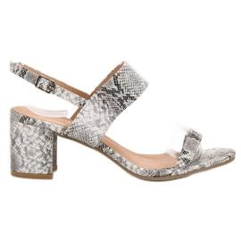 Ideal Shoes gris Sandales à la mode pour femmes
