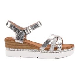 Seastar gris Sandales à la mode avec des zircons