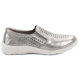 Kylie Chaussures en cuir argentées gris