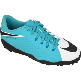 Chaussures de football Nike HypervenomX Phelon Iii Tf Jr 852598-104 blanc, bleu bleu