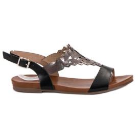 Kylie noir Sandales plates élégantes
