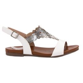 Kylie blanc Sandales plates élégantes